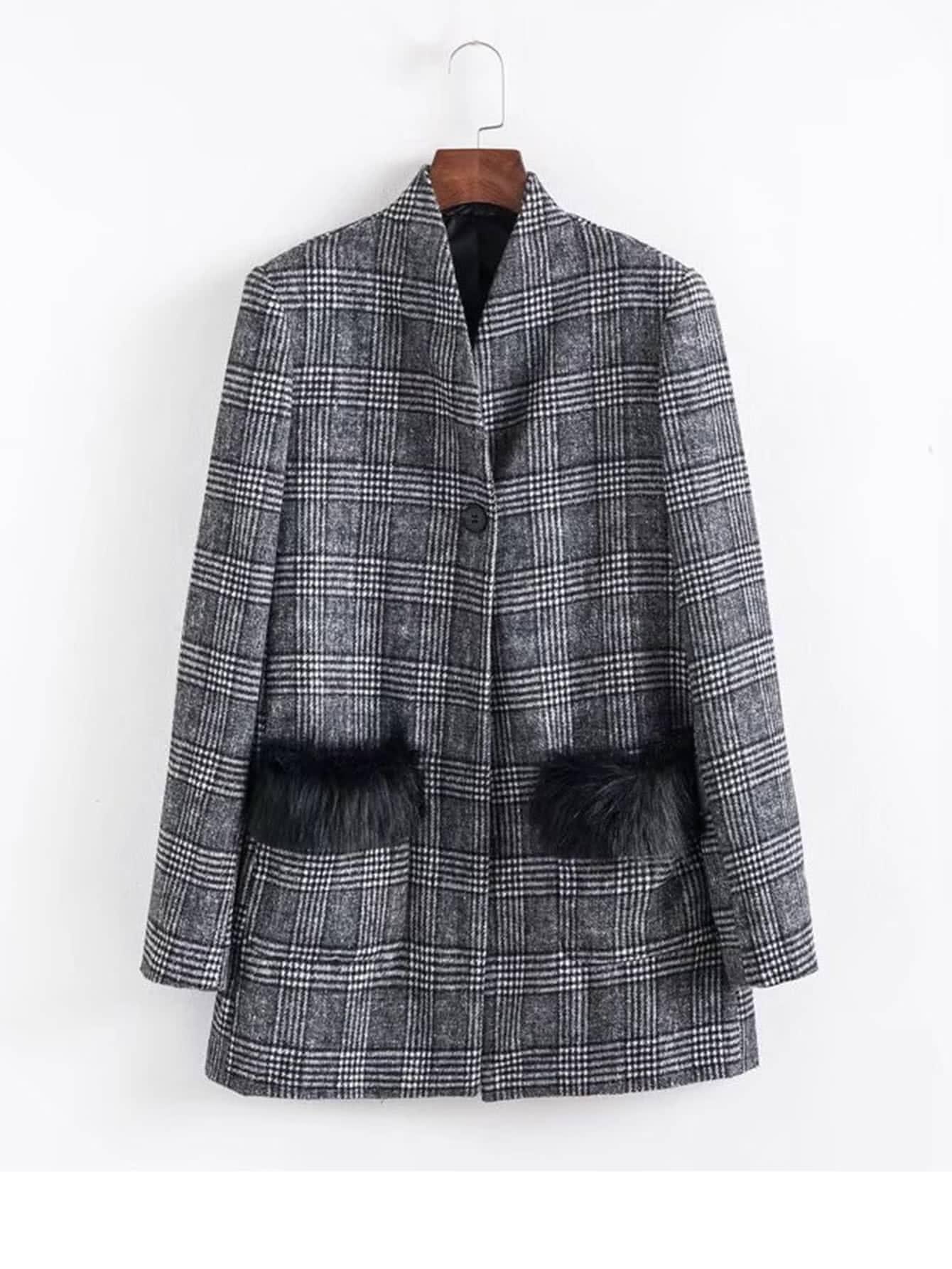 Contrast Faux Fur Plaid Blazer drop shoulder contrast faux fur sleeve sweatshirt