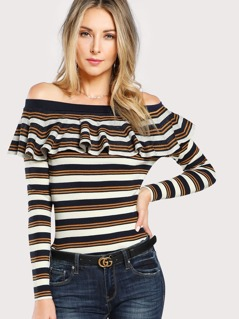 Striped Knit Off SHoulder Top IVORY