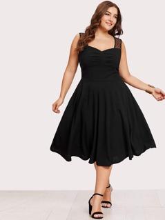 Plus Polka Dot Mesh Shoulder Ruched Sweetheart Dress
