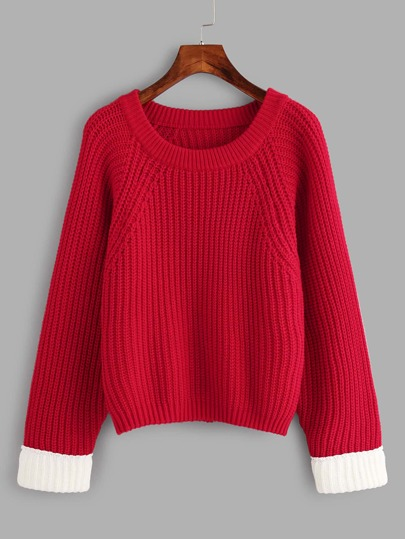 Contrast Cuff Split Back Sweater