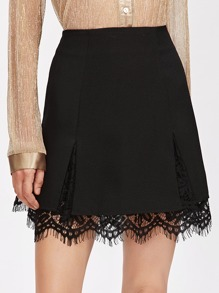 Scallop Lace Insert Slit Detail Skirt
