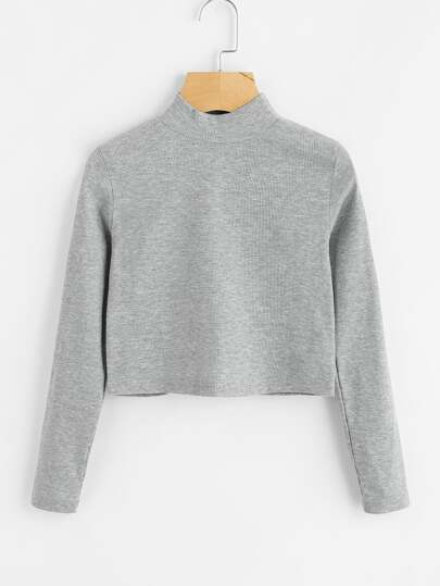 High Neck Ribbed Crop Sweater