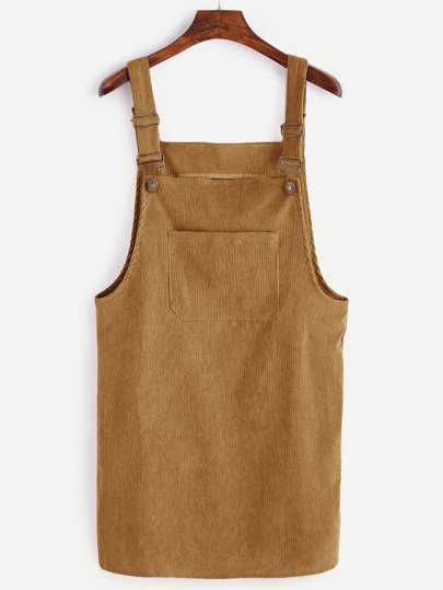 Corduroy Dungaree Pinafore Dress With Pocket