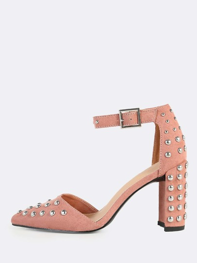 Studded Point Toe Ankle Strap Heels BLACK