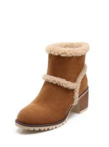 Seam Detail Cork Heeled Boots