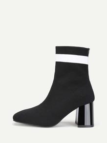 Color Block Detail Knit Ankle Boots