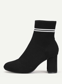 Striped Detail Block Heeled Ankle Boots