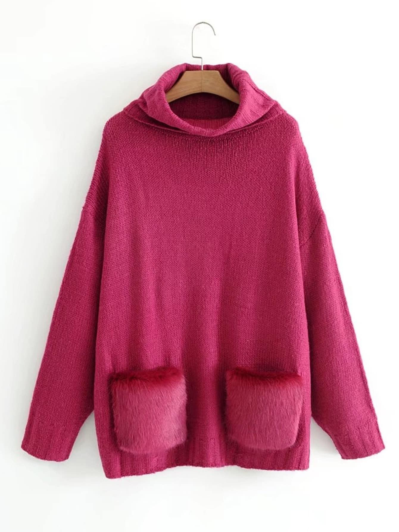 Faux Fur Embellished Pocket Oversized Sweater