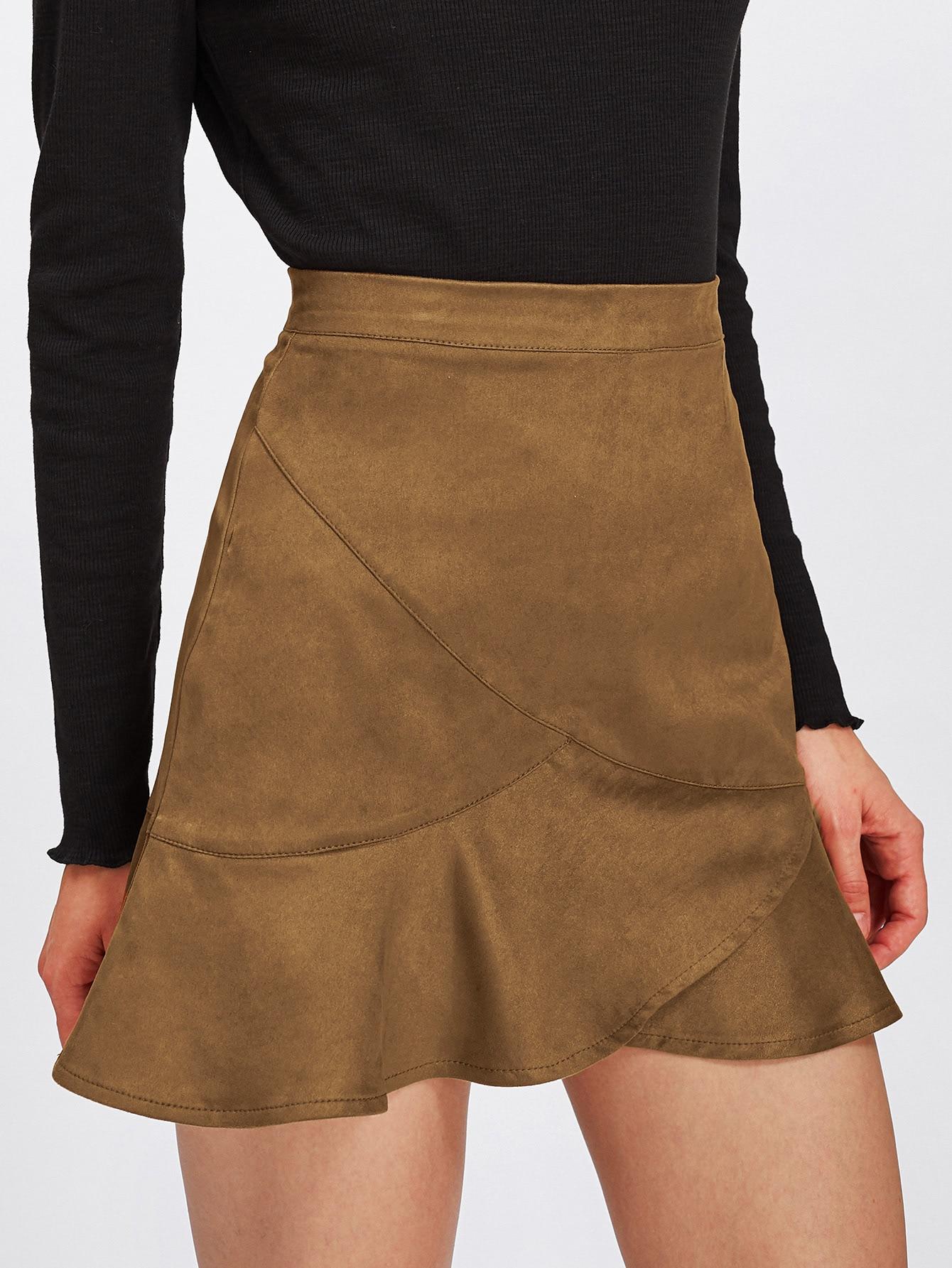 Frill Hem Zip Back Skirt botanical embroidery zip back skirt