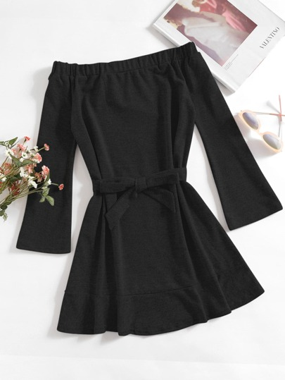 Off Shoulder Tie Waist Dress