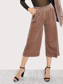 Pocket Side Velvet Palazzo Pants