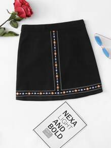 Geo Embroidered Zip Up Back Skirt