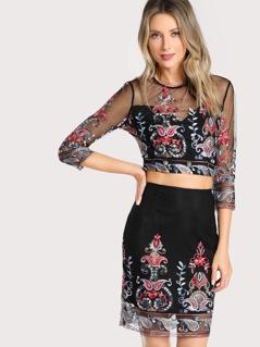 Keyhole Back Embroidered Mesh Sweetheart Top & Skirt Set