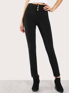 Piped Skinny Pants BLACK