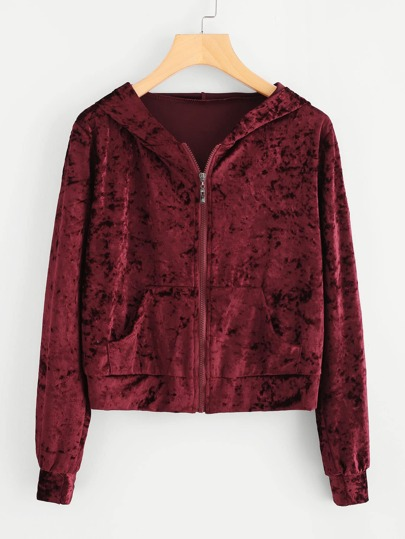 Velvet Dual Pocket Zip Up Jacket
