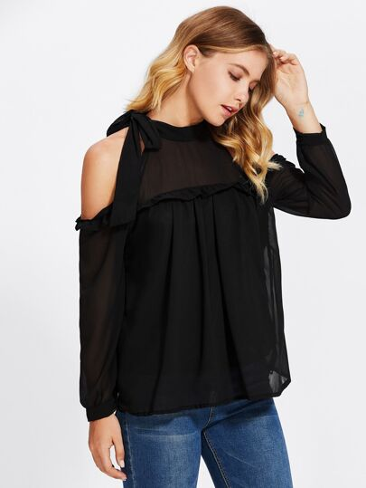 Open Shoulder Frill Trim Bow Tie Top