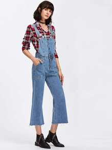 Raw Hem Flare Overall Jeans
