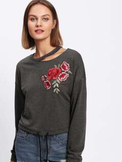 Flower Applique Cutout Neck Heathered Pullover
