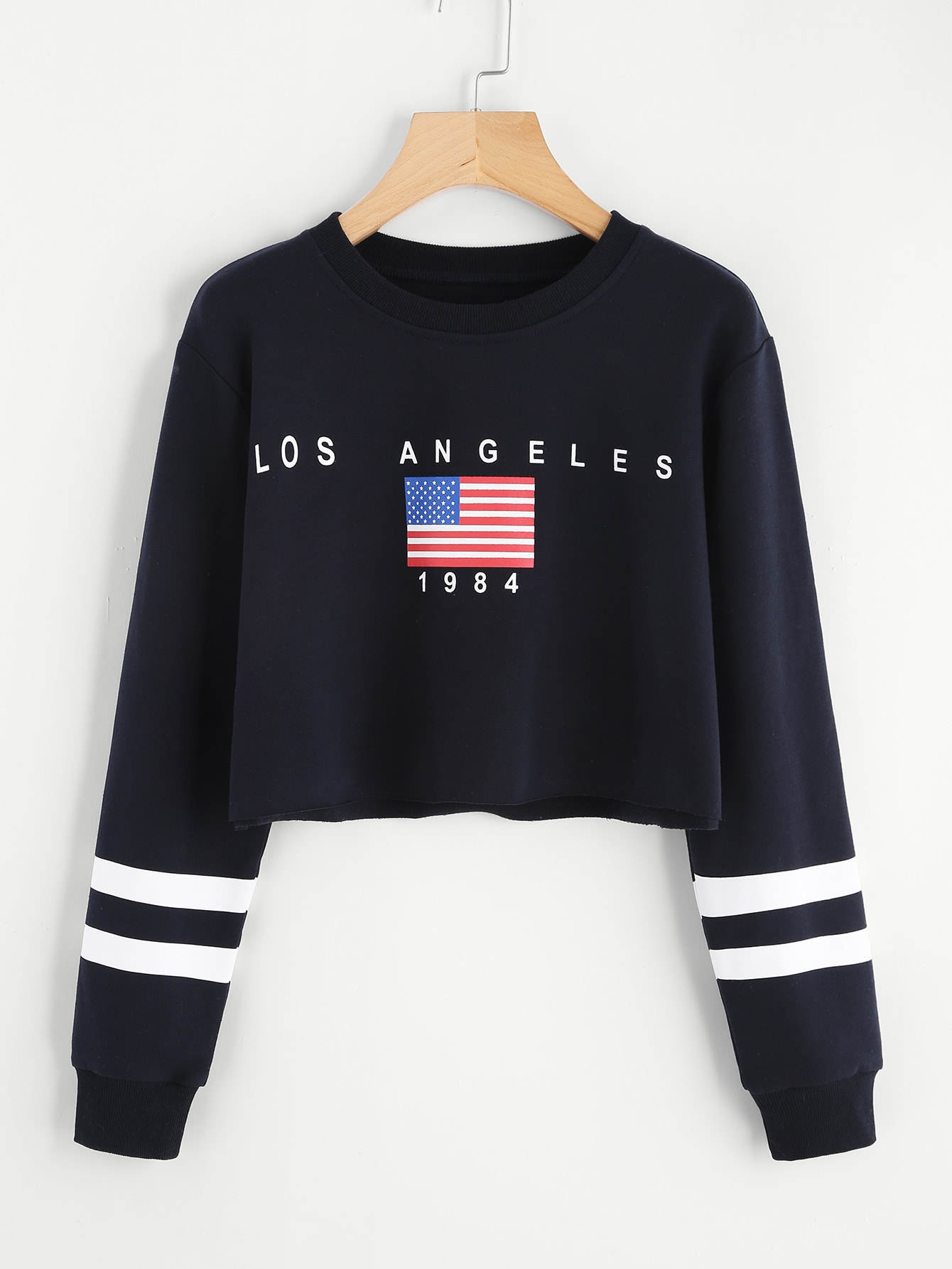 American Flag Print Varsity Striped Crop Sweatshirt