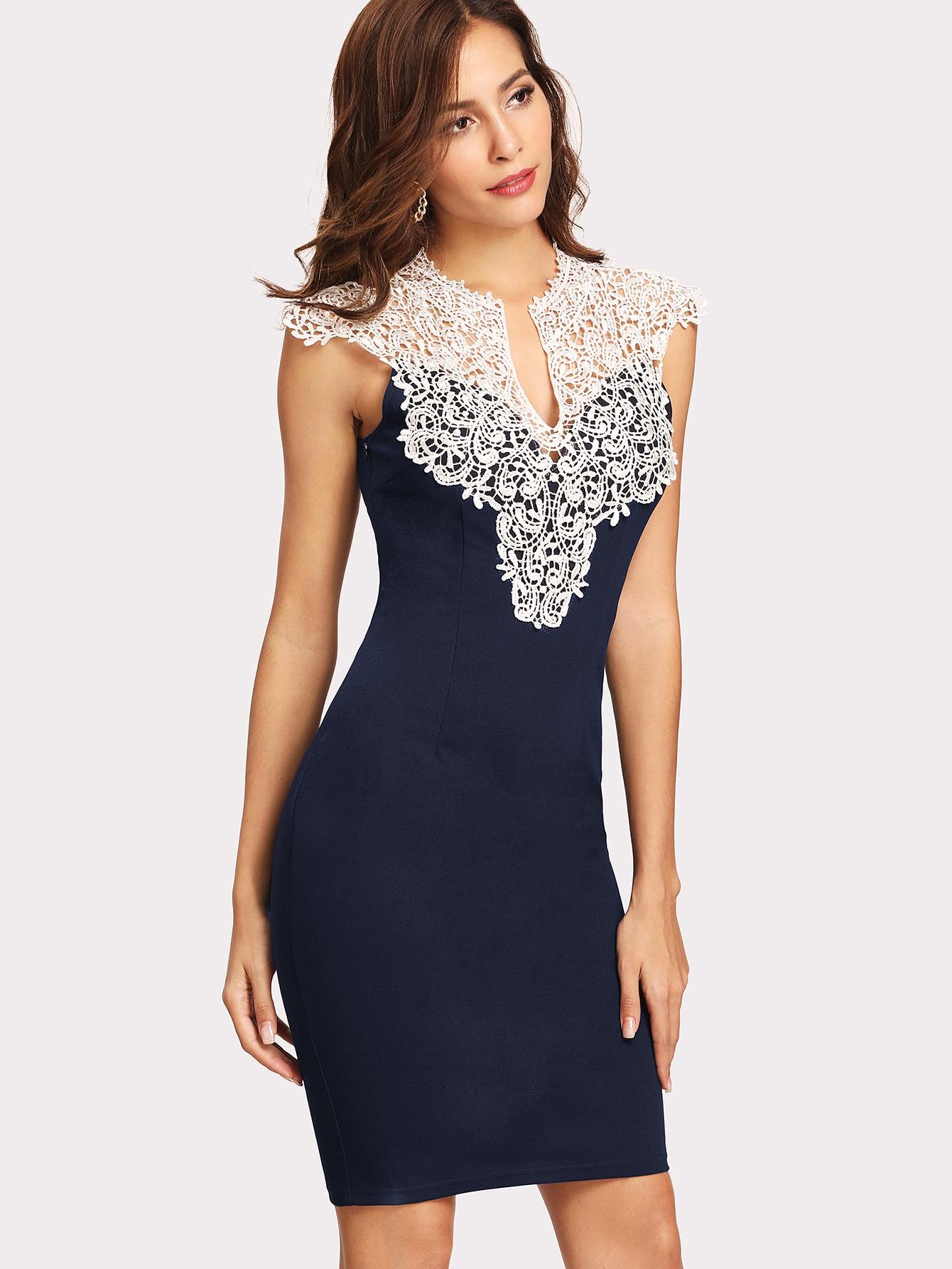 floral lace yoke form fitting dress sheinsheinside
