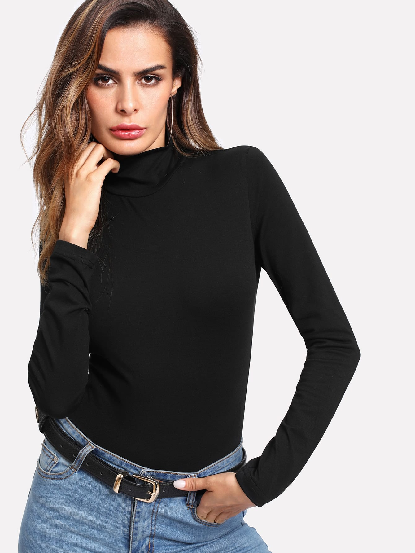 High Neck Fitted Bodysuit high neck fit