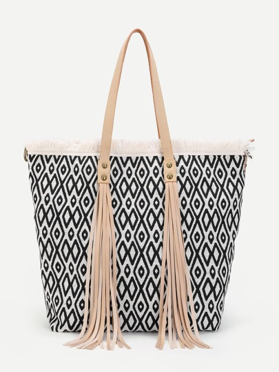 Tassel Detail Geometric Pattern Tote Bag