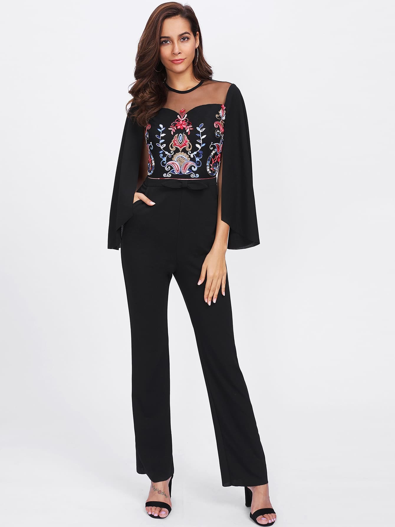 Cape Sleeve Mesh Insert Embroidered Tailored Jumpsuit mesh insert jumpsuit