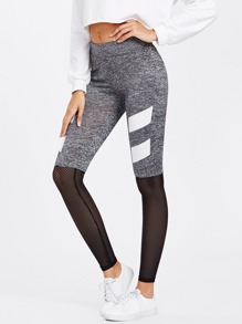 Striped Print Marled Knit Perforated Leggings