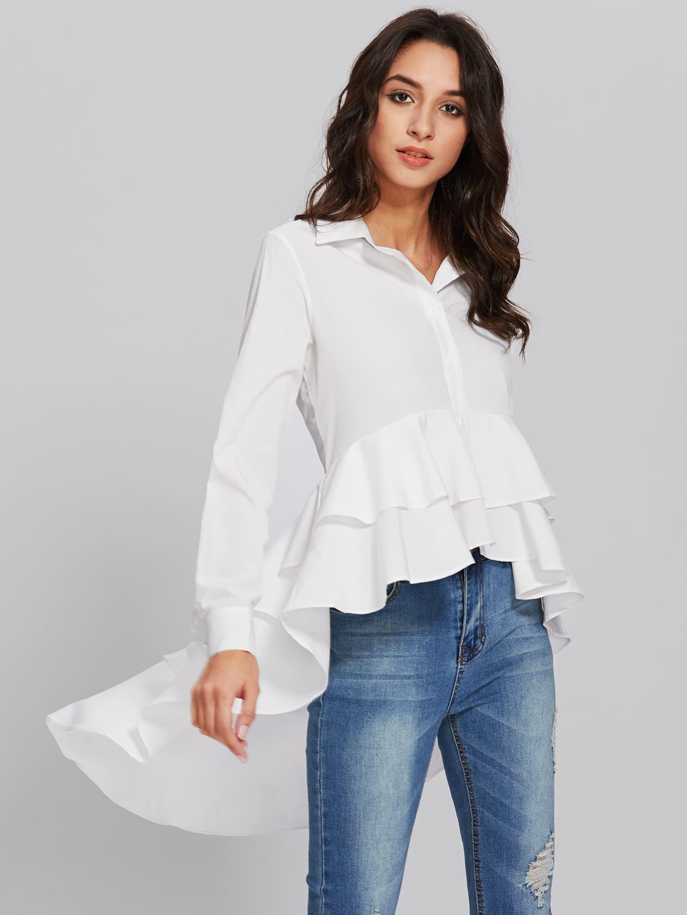 Dip Hem Frill Layered Shirt black one shoulder frill layered design jumpsuit
