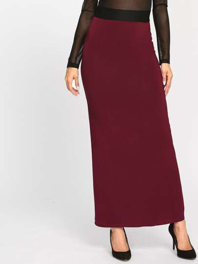 Contrast Waistband Stretch Knit Column Skirt
