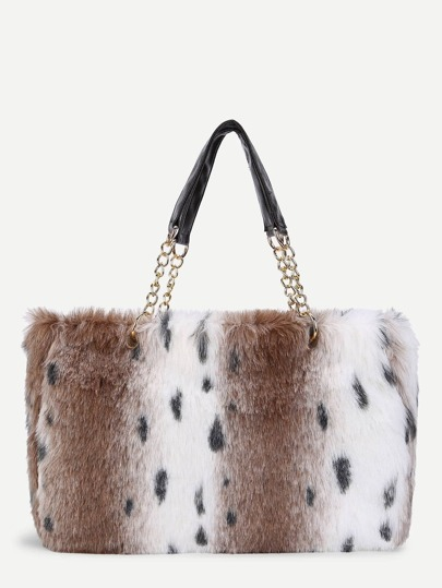 Leopard Print Faux Fur Overlay Tote Bag