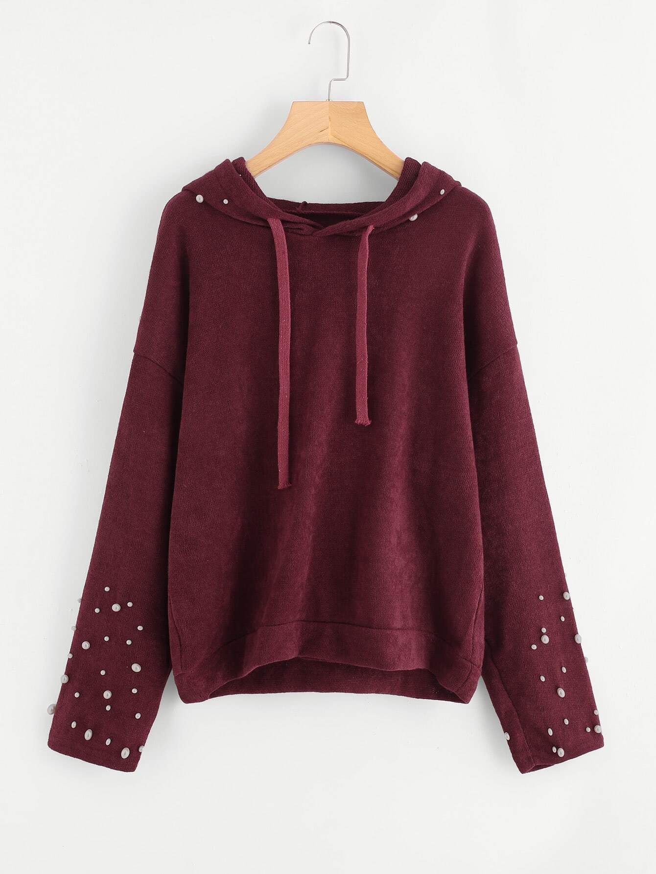 Pearl Beaded Drop Shoulder Hooded Sweater drop shoulder two tone eyelet sweater