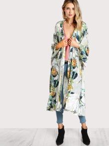 Botanical Print Self Belted Velvet Coat