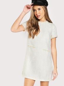 Pearl Beading Tweed Dress
