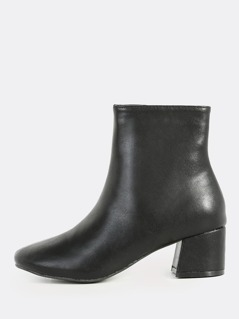 702d78464d2a Plain Lined Round Toe Booties BLACK