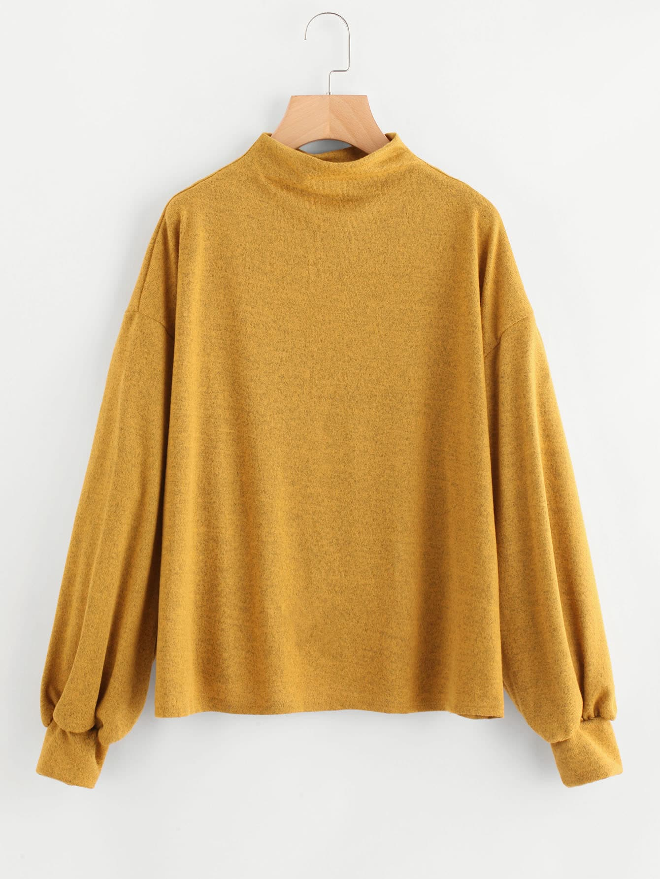 Lantern Sleeve Drop Shoulder Sweatshirt drop shoulder frilled sleeve sweatshirt