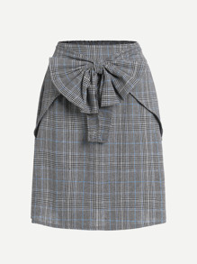 Checked Bow Front Skirt