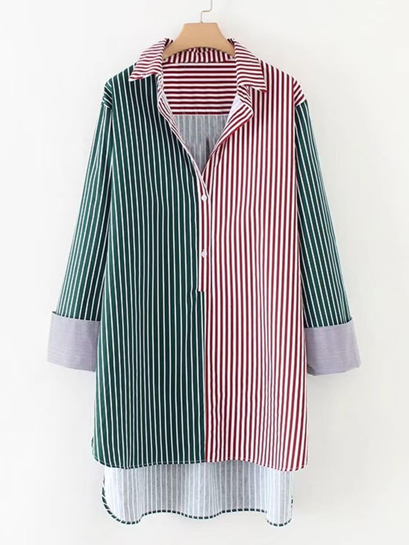2 In 1 Dip Hem Striped Longline Blouse
