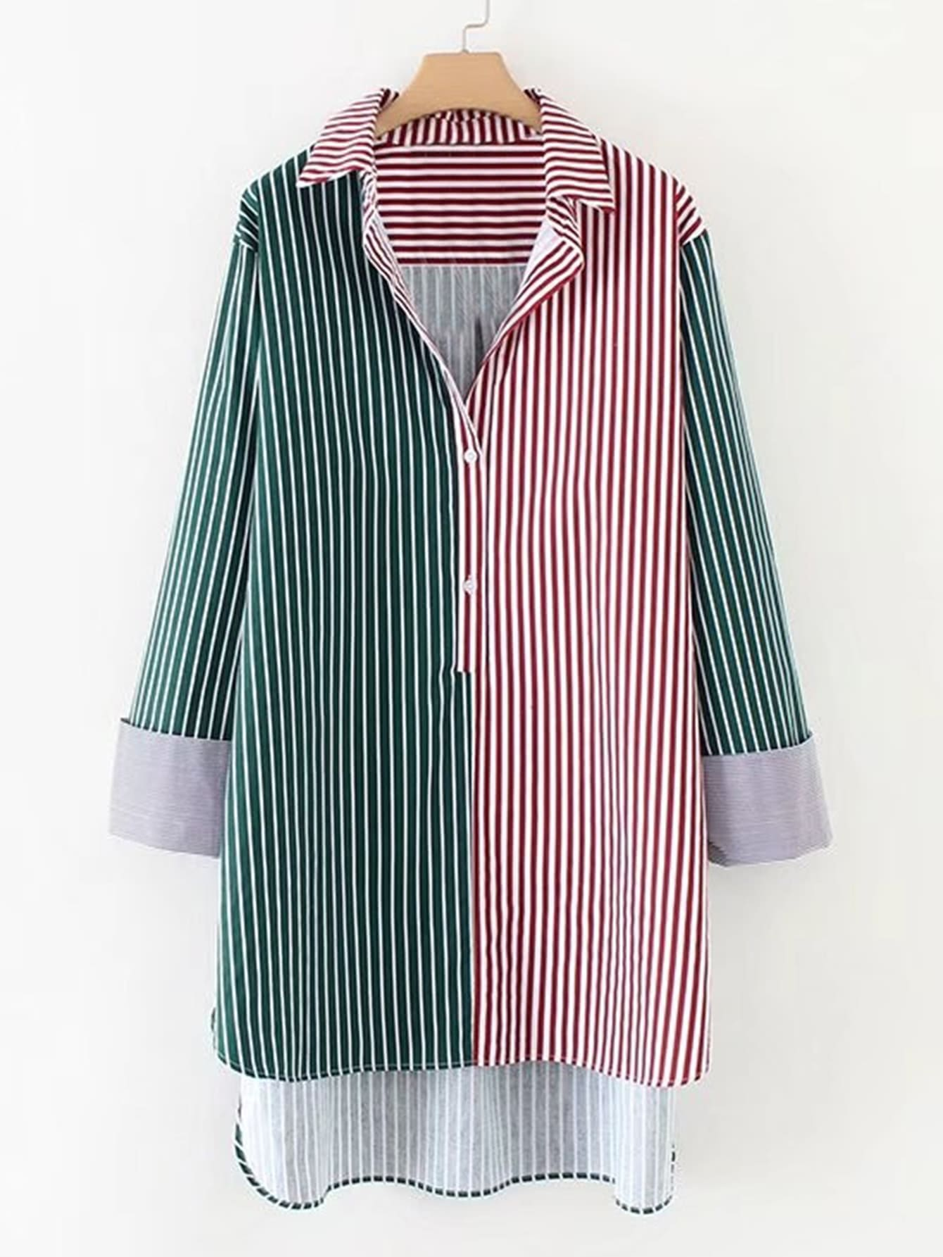 Image of 2 In 1 Dip Hem Striped Longline Blouse