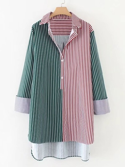 2 In 1 Dip Hem Striped Longline Blouse