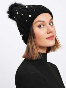 Pom Pom Faux Pearl Beanie Hat