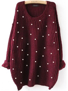 Pearl Beaded Drop Shoulder Jumper