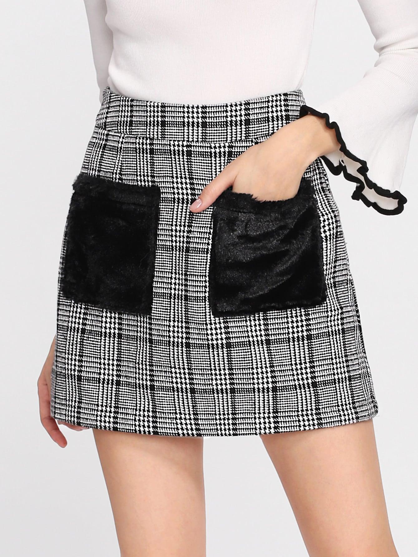 Faux Fur Pocket Plaid Skirt