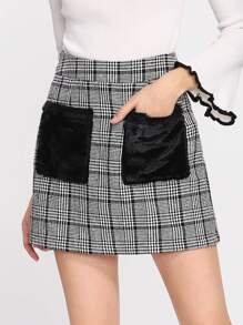 Faux Fur Pocket Plaid Skirt