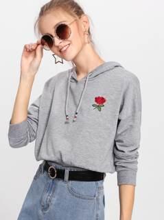 Drop Shoulder Rose Embroidered Hoodie