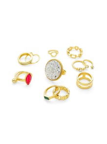 Geometric Design Ring Set With Gemstone