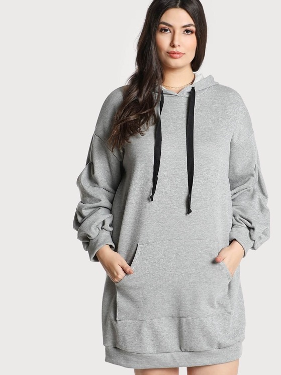 6589cc0ee486 Plus Gathered Puff Sleeve Hoodie Dress | MakeMeChic.COM