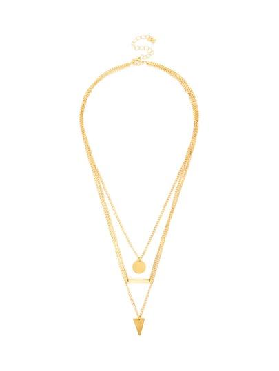 Geometric Pendant Layered Chain Necklace
