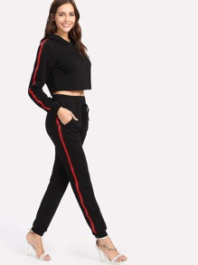 Striped Side Hoodie And Sweatpants Set
