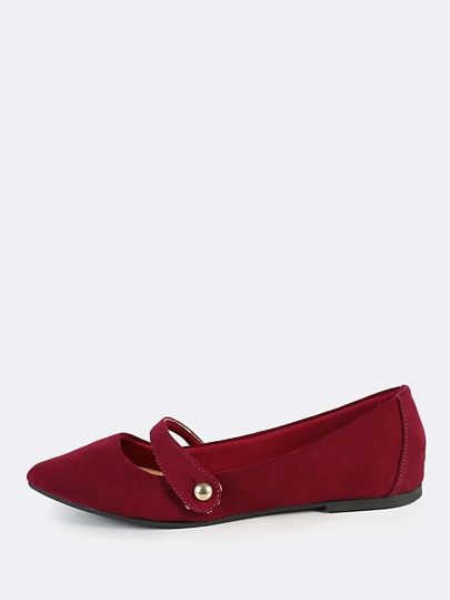 Buckle Accent Point Toe Flats BURGUNDY